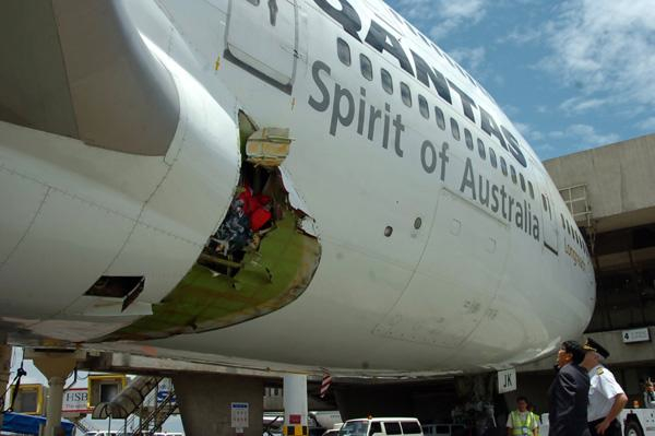 Area damaged by an exploding oxygen cylinder in a Qantas 747-400