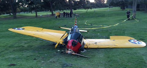 Front view of Harrison Ford Santa Monica accident.