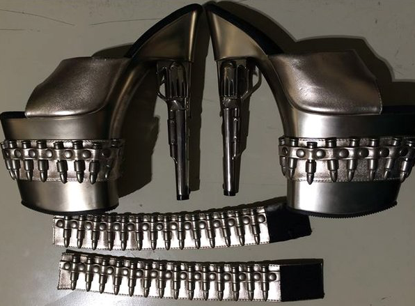 Gun-themed shoes and bracelets confiscated by the TSA at Baltimore's BWI Airport in 2016